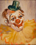 Mainstream Illustration, AMERICAN ARTIST (20th Century). Portrait of a Clown. Oil oncanvas. 25.5 x 21.5 in.. Signed indistinctly lower left. ...