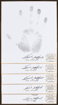 Football Collectibles:Others, Frank Gifford Signed Original Handprints Lot of 5....