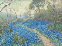 JULIAN ONDERDONK (American, 1882-1922) A Hillside of Blue Bonnets- Early Morning, Near San Antonio Texas