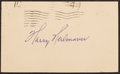 Baseball Collectibles:Others, Harry Heilman Signed Government Postcard....