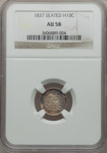 Seated Half Dimes: , 1837 H10C No Stars, Large Date (Curl Top 1) AU58 NGC. NGC Census:(109/747). PCGS Population (78/474). Mintage: 1,405,000. ...