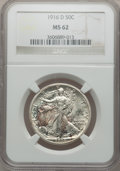 Walking Liberty Half Dollars: , 1916-D 50C MS62 NGC. NGC Census: (220/789). PCGS Population(175/1131). Mintage: 1,014,400. Numismedia Wsl. Price for probl...