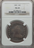 Early Half Dollars: , 1805 50C VG10 NGC. NGC Census: (11/970). PCGS Population (24/421).Mintage: 211,722. Numismedia Wsl. Price for problem free...