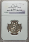 Seated Quarters: , 1851 25C -- Improperly Cleaned -- NGC Details. XF. NGC Census:(2/24). PCGS Population (6/38). Mintage: 160,000. Numismedia...