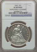 Seated Dollars: , 1843 $1 -- Improperly Cleaned -- NGC Details. XF. NGC Census:(25/332). PCGS Population (71/348). Mintage: 165,100. Numisme...