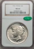Peace Dollars: , 1921 $1 MS64 NGC. CAC. NGC Census: (3420/1220). PCGS Population(3763/1377). Mintage: 1,006,473. Numismedia Wsl. Price for ...
