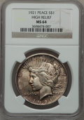 Peace Dollars, 1921 $1 Peace, High Relief MS64 NGC. NGC Census: (3420/1220). PCGSPopulation (3763/1377). Mintage: 1,006,473. Numismedia W...