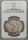 Peace Dollars: , 1928 $1 AU58 NGC. NGC Census: (892/4361). PCGS Population(988/6021). Mintage: 360,649. Numismedia Wsl. Price for problemf...
