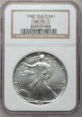 Modern Bullion Coins, 1992 $1 Silver Eagle MS70 NGC....