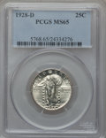 Standing Liberty Quarters: , 1928-D 25C MS65 PCGS. PCGS Population (569/78). NGC Census:(402/116). Mintage: 1,627,600. Numismedia Wsl. Price for proble...