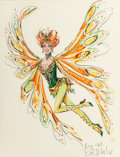 Pin-up and Glamour Art, BOB MACKIE (American, b. 1940). The Wonderful World ofBurlesque, Lucille Ball costume design, 1965. Colored markerand ... (Total: 2 Items)