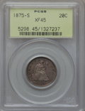 Twenty Cent Pieces: , 1875-S 20C XF45 PCGS. PCGS Population (217/2259). NGC Census: (116/2018). Mintage: 1,155,000. Numismedia Wsl. Price for pro...