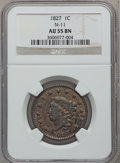 Large Cents, 1827 1C N-11, R.1 AU55 NGC. NGC Census: (20/81). PCGS Population(13/61). Mintage: 2,357,732. Numismedia Wsl. Price for pro...