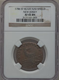 Colonials, 1786 COPPER New Jersey Copper, Narrow Shield, Straight Beam XF45NGC. Maris 14-J, W-4810, R.1....