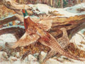 Mainstream Illustration, VICTOR OLSON (American, 1924-2007). Snow Scene withPheasants. Gouache on paper. 19 x 25 in. (image). Signed lowerright...