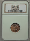 Indian Cents: , 1867 1C MS63 Red and Brown NGC. NGC Census: (62/277). PCGSPopulation (116/319). Mintage: 9,821,000. Numismedia Wsl. Price ...