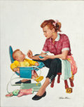 Mainstream Illustration, VICTOR OLSON (American, 1924-2007). Mrs. Olson Feeding Her Son(artist's wife). Oil on canvas. 26.75 x 21 in.. Signed lo...