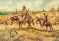 Mainstream Illustration, VICTOR OLSON (American, 1924-2007). Western Scene. Oil oncanvas. 20 x 29 in.. Signed lower right. ...