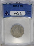 Seated Quarters: , 1871-S 25C AG3 ANACS. NGC Census: (0/28). PCGS Population (0/29). Mintage: 30,900. Numismedia Wsl. Price: $169. (#5480)...