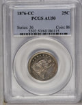 Seated Quarters: , 1876-CC 25C AU50 PCGS. PCGS Population (4/172). NGC Census: (6/161). Mintage: 4,944,000. Numismedia Wsl. Price: $140. (#550...