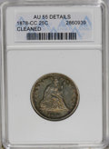 Seated Quarters: , 1878-CC 25C --Cleaned--ANACS. AU55 Details. NGC Census: (6/173). PCGS Population (9/163). Mintage: 996,000. Numismedia Wsl. ...
