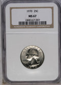 Washington Quarters: , 1970 25C MS67 NGC. NGC Census: (9/0). PCGS Population (9/0).Mintage: 136,420,000. (#5885)...