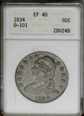 Bust Half Dollars: , 1834 50C Large Date, Large Letters XF40 ANACS. O-101. NGC Census: (36/1331). PCGS Population (43/749). Mintage: 6,412,004. ...