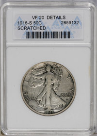 1916-S 50C --Scratched--ANACS. VF20 Details. NGC Census: (4/407). PCGS Population (8/653). Mintage: 508,000. Numismedia...