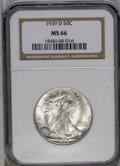 1939-D 50C MS66 NGC. NGC Census: (467/51). PCGS Population (577/44). Mintage: 4,267,800. Numismedia Wsl. Price: $500. (#...