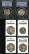 1941 50C MS62 PCGS; 1941 MS63 PCGS; 1946 MS61 ANACS; 1889 Morgan Dollar AU58 ANACS; 1886 Morgan Dollar MS62 ANACS and a...