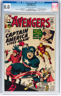 The Avengers #4 (Marvel, 1964) CGC VF 8.0 Off-white to white pages