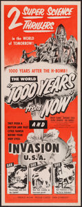 "Movie Posters:Science Fiction, 1000 Years from Now/Invasion USA Combo (Paramount, R-1956). Insert(14"" X 36""). Science Fiction.. ..."