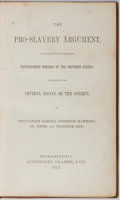 Books:Americana & American History, [Slavery]. The Pro-Slavery Argument. Lippincott, Grambo,1853. Publisher's cloth with toning and light rubbing. Lack...