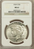 Peace Dollars: , 1924-S $1 MS61 NGC. NGC Census: (261/2347). PCGS Population(171/3465). Mintage: 1,728,000. Numismedia Wsl. Price for probl...