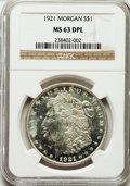 Morgan Dollars, 1921 $1 MS63 Deep Mirror Prooflike NGC....