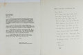 Autographs:Authors, Lewis Mumford, American Historian and Critic. Typed Letter Signed. Additional letter to Mumford accompanies. Overall fine....