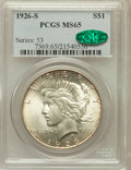 Peace Dollars: , 1926-S $1 MS65 PCGS. CAC. PCGS Population (612/68). NGC Census:(395/30). Mintage: 6,980,000. Numismedia Wsl. Price for pro...