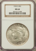 Peace Dollars: , 1922-S $1 MS64 NGC. NGC Census: (1777/281). PCGS Population(1839/308). Mintage: 17,475,000. Numismedia Wsl. Price for prob...