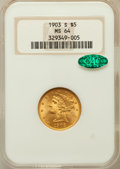 Liberty Half Eagles, 1903-S $5 MS64 NGC. CAC....