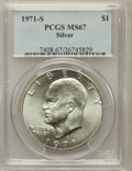 Eisenhower Dollars: , 1971-S $1 Silver MS67 PCGS. PCGS Population (392/2). NGC Census: (81/1). Mintage: 2,600,000. Numismedia Wsl. Price for prob...