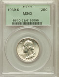 Washington Quarters: , 1939-S 25C MS63 PCGS. PCGS Population (119/1374). NGC Census:(63/877). Mintage: 2,628,000. Numismedia Wsl. Price for probl...