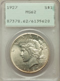 Peace Dollars: , 1927 $1 MS62 PCGS. PCGS Population (1178/4329). NGC Census:(1095/2641). Mintage: 848,000. Numismedia Wsl. Price for proble...