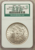 Morgan Dollars, 1880 $1 Brilliant Uncirculated NGC. Ex: Binion Collection. Mintage:12,601,355....