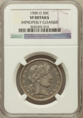 Barber Half Dollars, 1900-O 50C -- Improperly Cleaned -- NGC Details. VF. NGC Census:(2/66). PCGS Population (15/156). Mintage: 2,744,000...