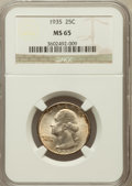 Washington Quarters: , 1935 25C MS65 NGC. NGC Census: (521/729). PCGS Population(1005/746). Mintage: 32,484,000. Numismedia Wsl. Price forproble...
