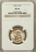 Washington Quarters: , 1946-D 25C MS66 NGC. NGC Census: (1137/257). PCGS Population(829/34). Mintage: 9,072,800. Numismedia Wsl. Price for proble...