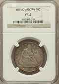 Seated Half Dollars: , 1855-O 50C Arrows VF25 NGC. NGC Census: (5/451). PCGS Population(6/495). Mintage: 3,688,000. Numismedia Wsl. Price for pro...
