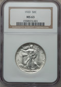 Walking Liberty Half Dollars: , 1920 50C MS63 NGC. NGC Census: (148/297). PCGS Population(227/465). Mintage: 6,372,000. Numismedia Wsl. Price for problem...
