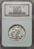 Walking Liberty Half Dollars: , 1917-S 50C Reverse MS61 NGC. NGC Census: (48/536). PCGS Population(8/608). Mintage: 5,554,000. Numismedia Wsl. Price for p...