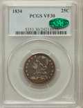 Bust Quarters: , 1834 25C VF30 PCGS. CAC. PCGS Population (45/520). NGC Census:(23/406). Mintage: 286,000. Numismedia Wsl. Price for proble...